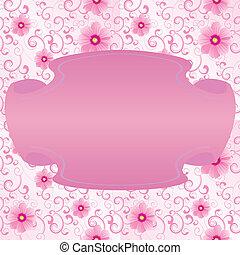 ピンク, スタイル, フレーム, レトロ, 背景, 花, 旗