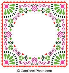 ピンク, スタイル, メキシコ人, カード, 挨拶, 招待, ベクトル, 緑, 人々, 結婚式, 花, パーティー, ∥あるいは∥, デザイン