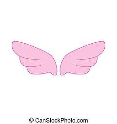 ピンク, スタイル, 単純である, アイコン, 対, 翼