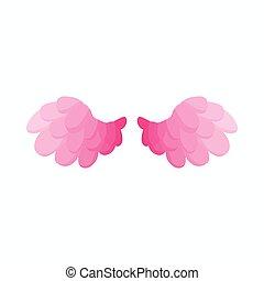 ピンク, スタイル, 漫画, 対, アイコン, 鳥, 翼