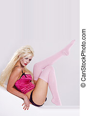 ピンク, セクシー, 女の子, 上に, 白