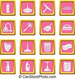 ピンク, セット, アイコン, ベクトル, 広場, 清掃