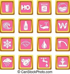 ピンク, セット, アイコン, ベクトル, 水, 広場