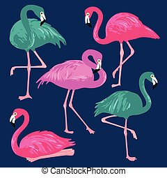 ピンク, セット, イラスト, 手, flamingos., ベクトル, 引かれる
