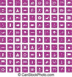 ピンク, セット, グランジ, アイコン, アジア人, 100