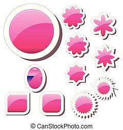 ピンク, セット, タグ, ステッカー, ボタン, ガラス, gell