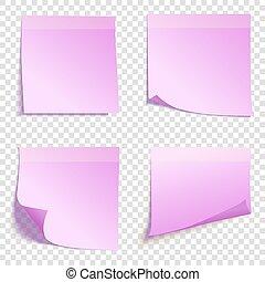 ピンク, セット, メモ, 隔離された, イラスト, 付せん, 背景, ベクトル, 広場, 透明