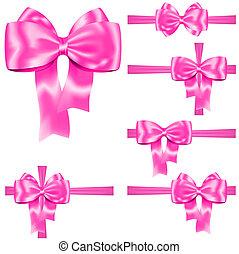 ピンク, セット, リボン, 弓