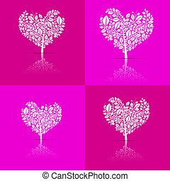 ピンク, セット, 心の形をしている, 抽象的, 木, ベクトル, 背景, すみれ