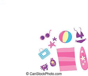 ピンク, セット, ), (, 旅行, -, 隔離された, 白い浜, 夏, アイコン