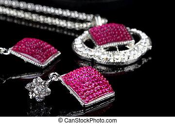 ピンク, セット, 有色人種, フォーカス, イヤリング, 宝石類