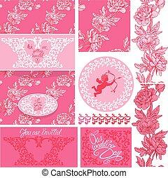 ピンク, セット, 要素, 天使, 招待, テキスト, calligraphic, 花, バックグラウンド。, ボーダー, ビネット, カード, 結婚式, フレーム, 花, 手書き