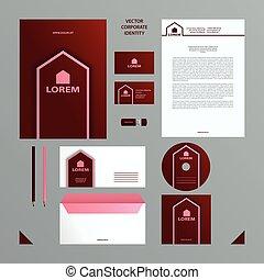 ピンク, セット, card., ビジネスの色, 決め付けること, ブルゴーニュ, template., カバー, ブランク, 企業イメージの統一戦略, フォルダー