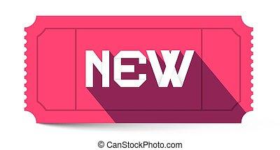 ピンク, タイトル, イラスト, ベクトル, レトロ, 新しい, 切符