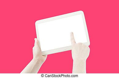 ピンク, タブレット, 隔離された, pc, 手を持つ