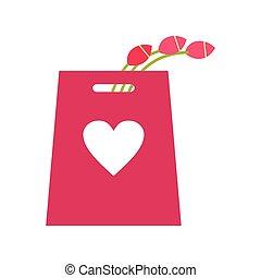 ピンク, チューリップ, アイコン, 買い物袋