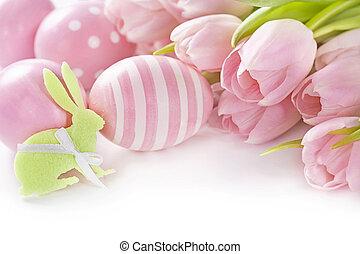 ピンク, チューリップ, 卵, イースター