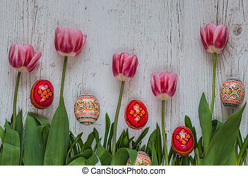 ピンク, チューリップ, 卵, 緑, 背景, 草, イースター