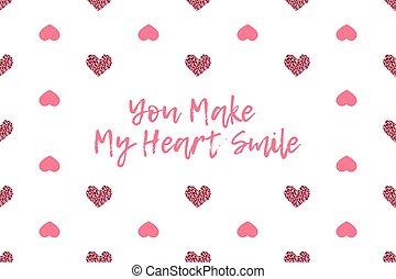 ピンク, テキスト, 挨拶, バレンタイン, 心, カード