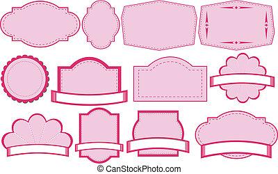 ピンク, テンプレート, 空, ラベル