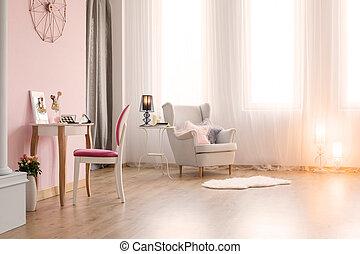 ピンク, テーブル, 部屋, ドレッシング