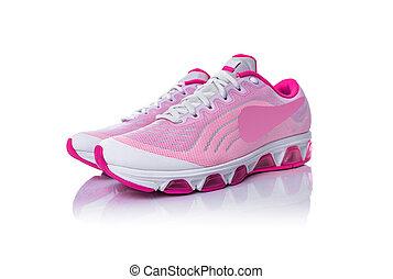 ピンク, バックグラウンド。, 白, スポーツの靴