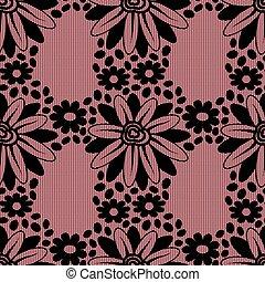 ピンク, バックグラウンド。, 花, 黒, レース