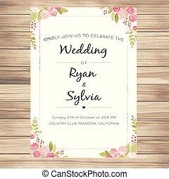 ピンク, バニラ, 招待, ばら, ベクトル, 背景, 結婚式, イメージ