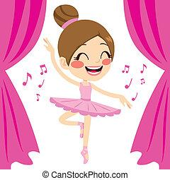 ピンク, バレリーナ, ダンサー, チュチュ