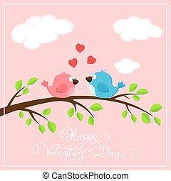ピンク, バレンタイン, 2, 背景, 心, 鳥