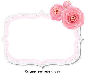 ピンク, パステル, バラ, ラベル