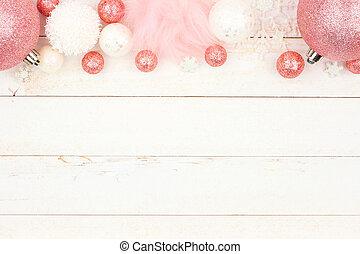 ピンク, パステル, 上に, クリスマスの 装飾, 木, 白, ボーダー, 上