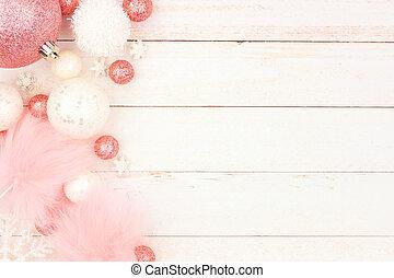 ピンク, パステル, 上に, クリスマスの 装飾, 木, 白, ボーダー, 側