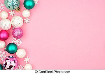 ピンク, パステル, 上に, クリスマス, 背景, ボーダー, 安っぽい飾り, 側