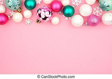 ピンク, パステル, 上に, 上, クリスマス, 背景, ボーダー, 安っぽい飾り