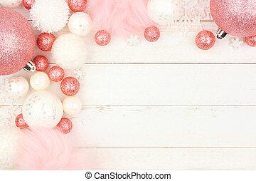 ピンク, パステル, 上に, 装飾, 木, コーナー, 白, ボーダー, クリスマス