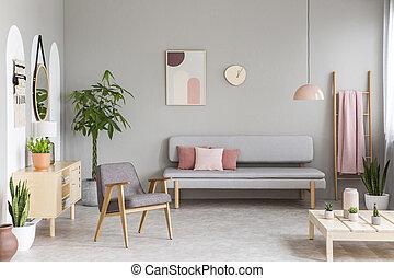 ピンク, パステル, 実質, 部屋, 肘掛け椅子, 暮らし, 単純である, 写真, はしご, 灰色, ポスター, クッション, 新たに, 緑, レトロ, 掛かること, 内部, 植物, ソファー, 毛布