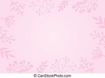 ピンク, パステル, 花, 背景を彩色しなさい, ボーダー
