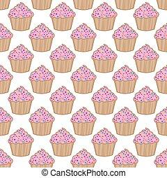 ピンク, パターン, ベクトル, 背景, cupcake