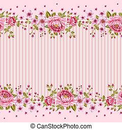 ピンク, パターン, 壁紙, roses., seamless