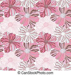 ピンク, パターン, 花