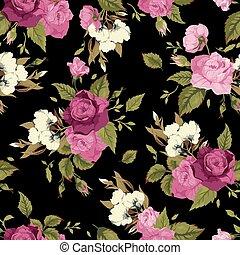ピンク, パターン, seamless, ばら, 黒い背景, 花