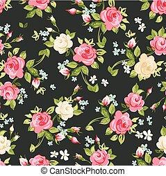 ピンク, パターン, seamless, イラスト, ばら, ベクトル, 黒, 白い背景