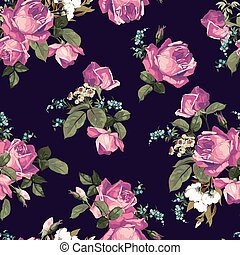 ピンク, パターン, seamless, 暗い, ばら, 背景, 花