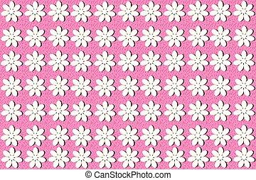 ピンク, パターン, seamless, 背景, 白い花
