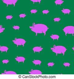 ピンク, パターン, seamless, 豚