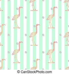 ピンク, パターン, seamless, 銀, 緑の縞, 背景, きらめき, 鳥, 点