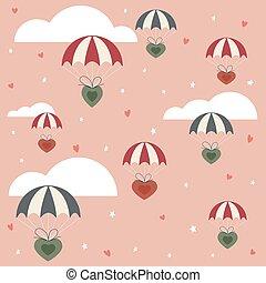 ピンク, パラシュート, バレンタイン, 背景, 心