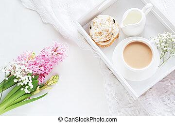 ピンク, ヒヤシンス, カップ, 花束, コーヒー, 朝, white., 新たに, 朝食