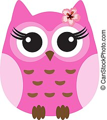 ピンク, フクロウ, かわいい